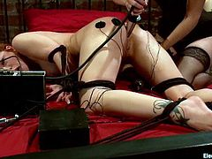 Redhead chick lies on a bed being tied up by Bobbi Starr. She get her ass toyed with a dildo and pussy with a vibrator at the same time.