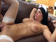 Stunning Kendra Secrets gives passionate blowjob to big cocked patient. Then this hottie gets her wet pussy destroyed and mouth filled with cum.