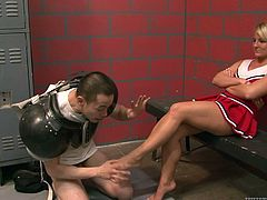 Casey Cumz the sexy girl in cheerleader uniform drops to her knees in the dressing room. She sucks three big dicks and gets her face cum covered.