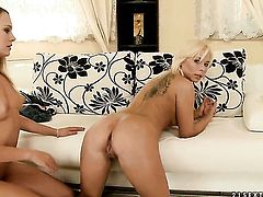 Blonde Blue Angel and Lisa loses control in insane lesbian action