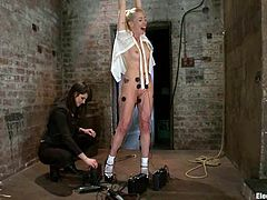 Sexy blonde girl gets tied up and undressed by the brunette mistress. Then Lorelei gets tortured with electricity.