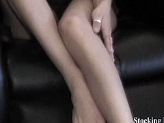 Carmen is looking hot as ever dressed in black with her sexy feet showing.  She then grabs some stockings and slowly peels them on while spreading her toes and pointing them right at you!