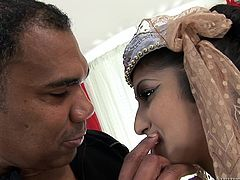 Wearing her traditional costume, Sarala is anxious to have a meeting, a meeting with a huge black cock. That's right, this Indian whore is about to get stuffed with dick! Franco will make sure, she will receive all the fucking she needs. He begins by licking her nipples and pussy, and then she sucks bbc!