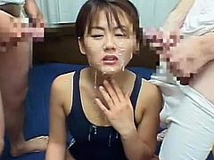 Needy asian slut enjoys full bukkake porn session along soem nasty guys