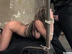 But this is what happens only in the beginning of this amazing BDSM sex porn! Then Steve hogties her and sticks a hook in her asshole.