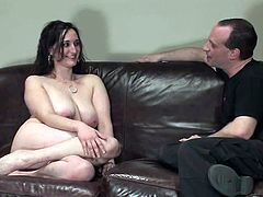 Lewd brunette Natasha Dee is playing BDSM games with some guy in the living room. She lets the dude tie her up and then enjoys weights on her big natural tits and a dildo in her juicy cunt.