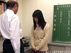 Charming Japanese girl Nana Usami is having fun with some dude in an office. She kneels in front of the guy and sucks his dick till it explodes with jizz all over her face.