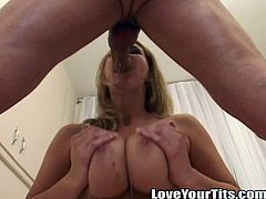 Stunning blonde girl with engaging smile takes her red lingerie off. Then she gives blowjob & titjob combo to some dude in POV video.