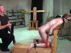 Check out this horny chick getting dominated in the dungeon. She is all tied up and her sexy ass received some hardcore spanking by her nasty master like never before.