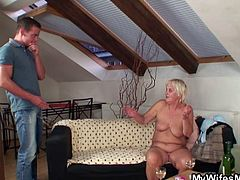 This guy's wife is really drunk as she goes to sleep. Her mom is as drunk as her. She gets naked and wait for her son-in-law to see her. He nails her old cunt and her daughter catches them.