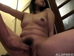 Japanese milf gets fucked in many positions after giving head