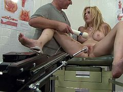 Blonde chick lies on a gynecological chair. Old dude chokes her and also toys with a vibrator. After that she gets her vagina and asshole drilled hard by the fucking machine.