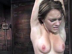 Amber Rayne and Kirra Lynne are having fun with some guy in a cellar. They get bound and humiliated and then please the man with a hot handjob.
