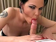 This brunette slut is a total cougar who loves dick. See her red lips kissing and engulfing this hard penis eager to deepthroat and get jizz on her face.