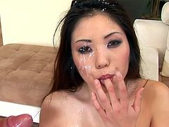 Asian babe Kaiya Lynn gives a blowjob to some dude and allows him to fuck her pussy and ass in the reverse cowgirl and other positions. Then she kneels in front of him and enjoys a facial cumshot.