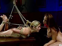 Ashley Fires, Chanel Preston and one more captivating chick are getting naughty in a dark room. One of the blondes gets bound and humiliated and then enjoys having toys in her juicy vag.