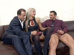 Adorable long haired blonde schoolgirl Liana with long legs and smoking hot slim body in stockings and short skirt makes out with Nick Lang and George Uhl on couch.