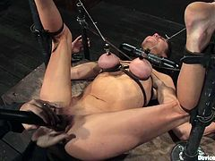 Brunette bitch Princess Donna Dolore is having fun with some guy in a basement. She lets the dude tie her up and loves all what he does with her awesome boobs.