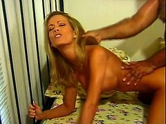 Sensuality is the word of this free porn video! Divine blondie gives a nice head and bends over to feel it in her muff and reach some orgasm!