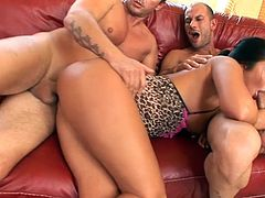 Slutty pornstar goes pretty wild having two cocks to pound and fill her tight pussy