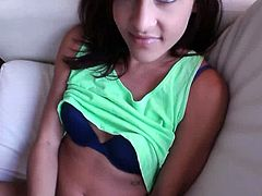 Charming petite brunette Nikki Chase kneels in front of her man and favours him with a great blowjob. Then they bang doggy style and in the reverse cowgirl position and Nikki moans sweetly with pleasure.