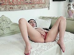 Stacy Snake with huge melons polishes her love hole