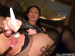 Sizzling Japanese chick Kanon Takikawa wearing pantyhose rubs her clit with a dildo and allows her man to eat her pussy. Then they fuck in missionary and cowgirl positions and seem to be unable to stop.