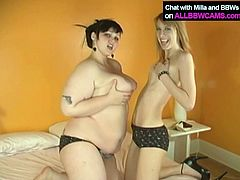 Naughty lesbian whores strip one another starting dirty action. Skinny one puts on a strapon thrusting the tool in the air. BBW bitch sucks the stick like tasty dick. After, she gets poked hard missionary style,