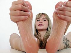 how my feet slide on a dildo