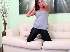 Skintight black leggings on Alyssa Reece