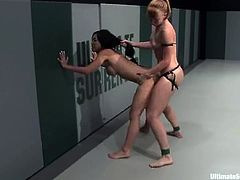 Two smoking hot and slender babes are going to fight and fuck! Tia Ling gives up the temptations and gives her snatch to Ami Emerson. Amazing match!