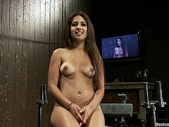 Cute brunette Jynx Maze is getting naughty in a basement. She lets somebody chain her to a wall and then gets her coochie amazingly fucked by a sex machine.