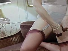 Adorable short haired glamorous blonde stunner Seka with awesome body in arousing lingerie slowly gets naked for her lover and eventually takes on his stiff pecker with great lust.