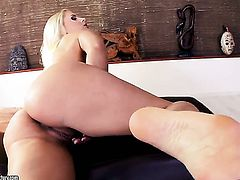 Blonde Brandy Smile demonstrates her nice honeypot in solo scene