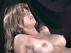 After banging her hairy moist pussy hard, this guy leaves her pretty face covered in his sticky semen.