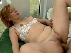 Linda is mature slut who love to hardcore sex and swallowing. This time she got pounded with big boner by random guy on her balcony. Swallow warm sperm is thing she likes