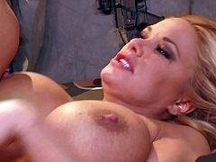 Attractive lusty and whorish blonde cougar Shyla Stylez with big jaw dropping tits and french manicure gives head to Mark Wood and gets his entire cock up round ass.