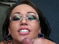 Big tits beauty with sexy glasses on enjoys tasty dick in POV blowjob porn