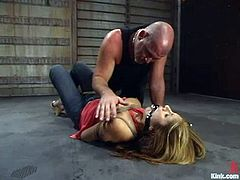 Mark Davis binds sexy milf Sativa Rose in a basement and plays dirty games with her. He beats Sativa's ass with a stick and then pleases her with fingering and smashes her coochie with his stone-hard cock.