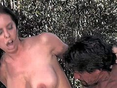 Tight ass lusty Brandy Aniston with fit body and jaw dropping melons gives head to muscled pornstar Tommy Gunn and rides on his cannon in provocative outdoor role play.