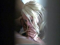 Tender unsuspecting blonde Brandy Blair sucks her boyfriends hard dick right in front of hidden camera in this nice voyeur video. She pulls down her thong panties and shows her twat after dick sucking.