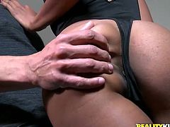 Dirty ebony slut sucks dick like greedy. She swallows his meaty cock and finger fucks her black pussy at the same time. Don't skip Reality Kings sex tube video for free.