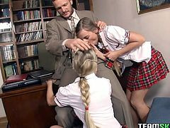 Watch this hot and horny chicks suck that large cock of their lecturer in his office so they could get higher mars in Team Skeet sex clips.