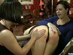 Horny chicks make hot show to some people during the dinner. Then they get tied up and toyed. They also get their juicy pussies fingered.