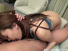Lustful Japanese chick Yuki Morinaga allows some guy to play with her meaty vag and licks his schlong in return. Then they bang doggy style and in other positions and Yuki moans sluttily with pleasure.