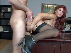 Attractive smoking hot redhead secretary Brooklyn Lee with big tits and pretty face in stockings with garter belt and high heels gets wet minge and stunning ass banged by Mark Wood.