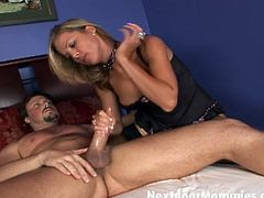 Courtesy of Next Door Mommies you can see a wild blonde milf in black stockings getting ready to be bad. See her cunt and ass drilled into a massive orgasm.