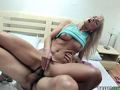 Petite brunette hottie shares her boyfriend with her best blonde girlfriend. Blond cutie does anal riding that massive cock in reverse cowgirl and fucking in on her side from behind.