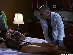 Sultry brunette mommy is not feeling herself well so she calls the Doctor to visit and examine her. Handsome man strips the patient and eats her dry.