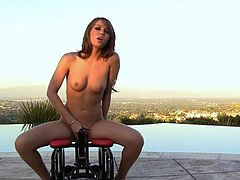 Capri Anderson feels amazing sensations by riding her new toy over by the pool